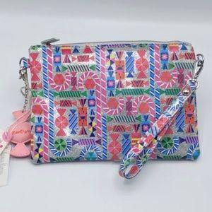 Bari Lynn Silver & Pink Zipper Clutch w/ Key Chain